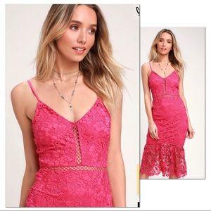 Taliah Hot Pink Lace Midi Dress